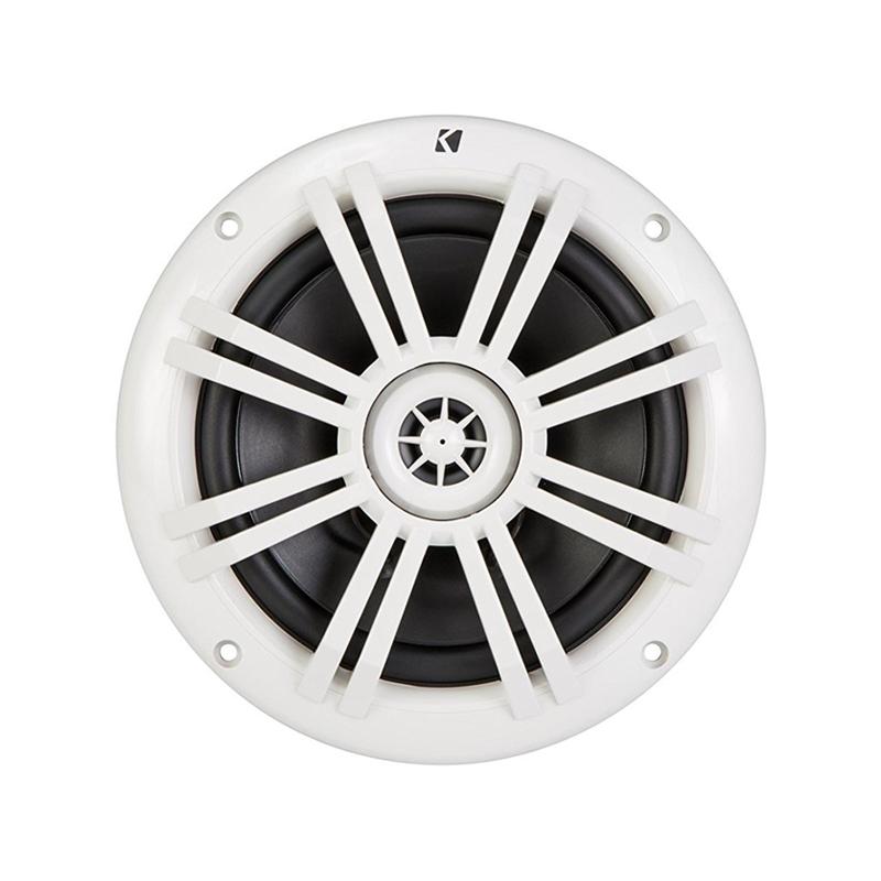 Kicker KM60 6.5 Inch Marine Grade Coaxial Speakers White 4 Ohm