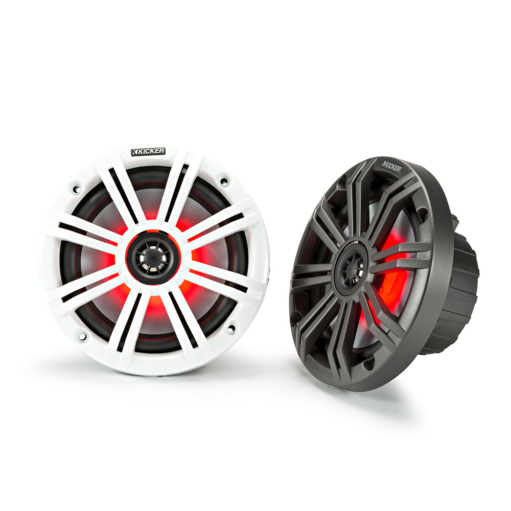 Kicker KM65 6.5 Inch Marine Grade Coaxial Speakers with LEDs White & Charocal Grilles 4 Ohm