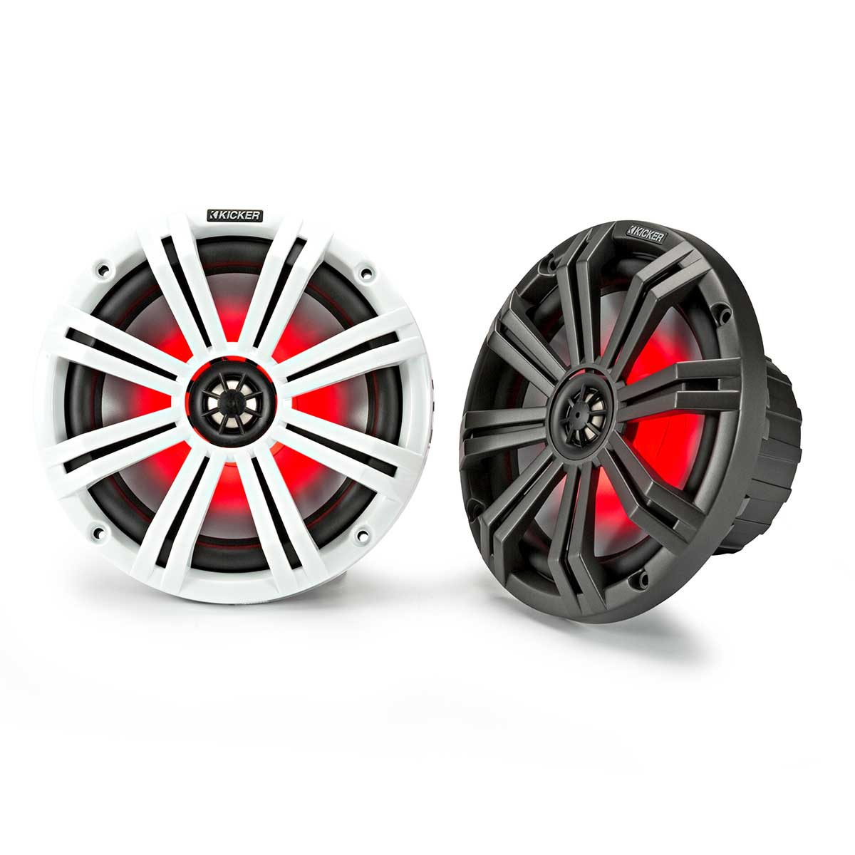 Kicker KM8 8 Inch Marine Grade Coaxial Speakers with LEDs White & Charcoal Grilles 4 Ohm
