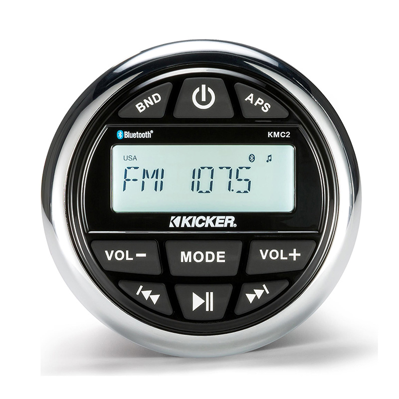 Kicker KMC2 Weather-Resistant Gauge-Style Media Center w/Bluetooth